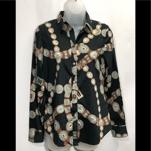Lauren sz XS concho belt button up shirt